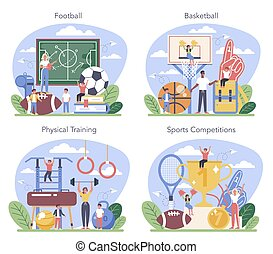 Physical education or school sport class concept set. ...
