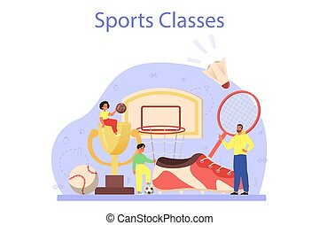 Physical education or school sport class concept. Students ...
