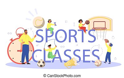 Physical education or school sport class typographic header ...