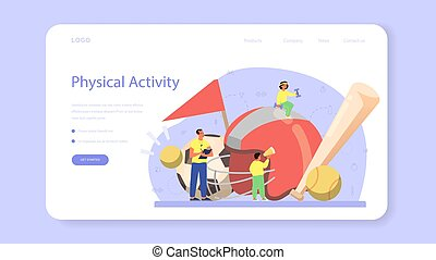 Physical education or school sport class web banner or ...