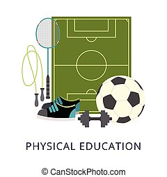Physical education school subject poster with sport ...