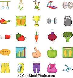 Physical examination icons set, cartoon style