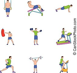 Physical exercises icons set, cartoon style