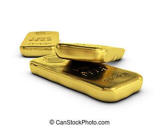 physical gold bullions ingots, golden bars over white...