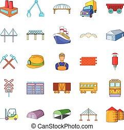 Physical labor icons set, cartoon style