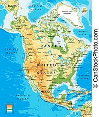 Highly detailed physical map of North America, in vector format, with all the relief forms, countries and big cities.