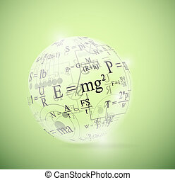 Physical sphere - Glass sphere with physical formulas. Eps...