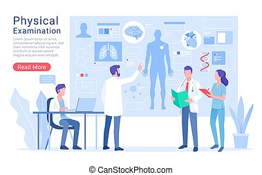 Physical system examination and treatment vector illustration.