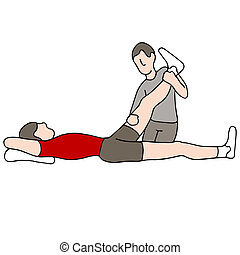 An image of a man receiving leg physical therapy.