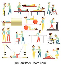 Physical Therapy Infographic Illustration Set Of Flat...