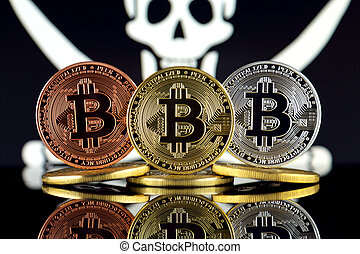 Physical version of Bitcoin (BTC) and Pirate Flag. Conceptual image for investors in High Technology (Cryptocurrency, Blockchain Technology, Smart Contracts, ICO). Risk, safety and security.