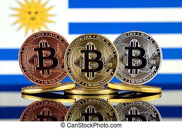 Physical version of Bitcoin (BTC) and Uruguay Flag. Conceptual image for investors in High Technology (Cryptocurrency, Blockchain Technology, Smart Contracts, ICO).
