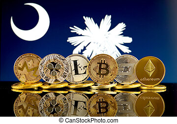 Physical version of Cryptocurrencies (Monero, Ripple, Litecoin, Bitcoin, Dash, Ethereum) and South Carolina State Flag.