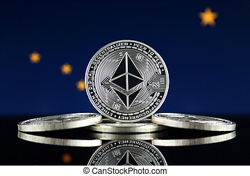 Physical version of Ethereum (ETH) and Alaska State Flag. ...