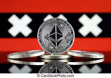 Physical version of Ethereum (ETH) and Amsterdam City Flag. ...