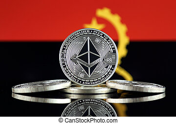 Physical version of Ethereum (ETH) and Angola Flag. ...