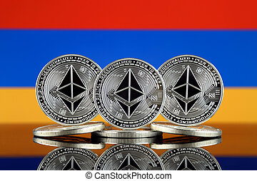 Physical version of Ethereum (ETH) and Armenia Flag. Conceptual image for investors in cryptocurrency, Blockchain Technology, Smart Contracts, Personal Tokens and Initial Coin Offering.