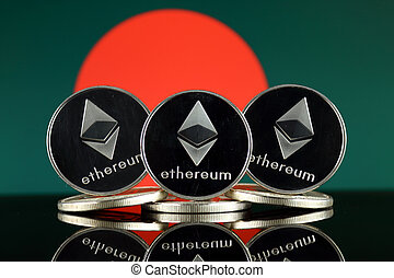 Physical version of Ethereum (ETH) and Bangladesh Flag. ...