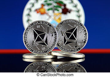 Physical version of Ethereum (ETH) and Belize Flag. ...