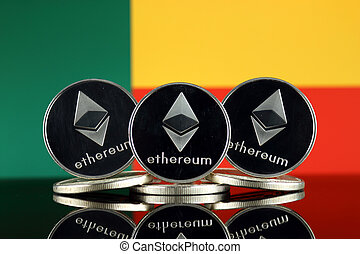 Physical version of Ethereum (ETH) and Benin Flag. ...
