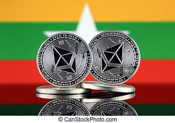 Physical version of Ethereum (ETH) and Burma Flag. ...