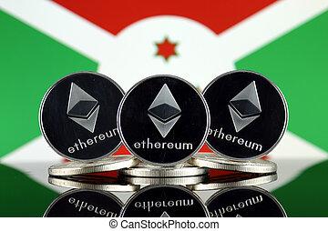 Physical version of Ethereum (ETH) and Burundi Flag. ...