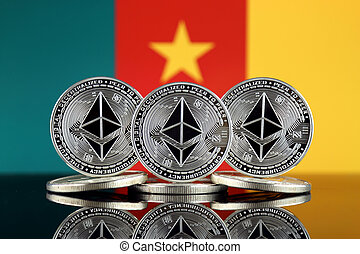 Physical version of Ethereum (ETH) and Cameroon Flag. ...