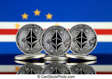 Physical version of Ethereum (ETH) and Cape Verde Flag. ...