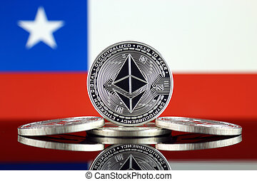 Physical version of Ethereum (ETH) and Chile Flag. ...