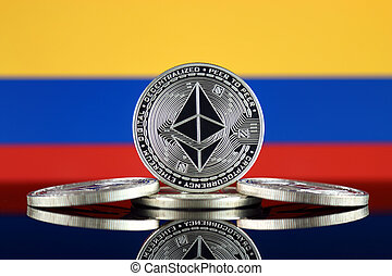 Physical version of Ethereum (ETH) and Colombia Flag. ...