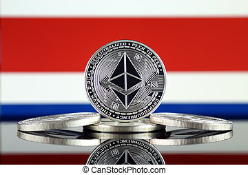 Physical version of Ethereum (ETH) and Costa Rica Flag. ...