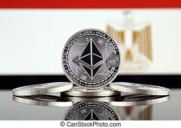 Physical version of Ethereum (ETH) and Egypt Flag. ...