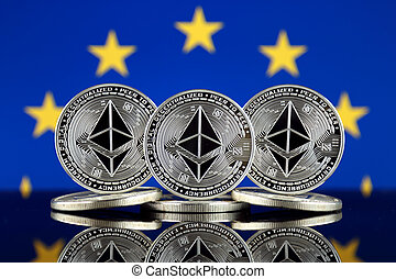Physical version of Ethereum (ETH) and European Union Flag. ...