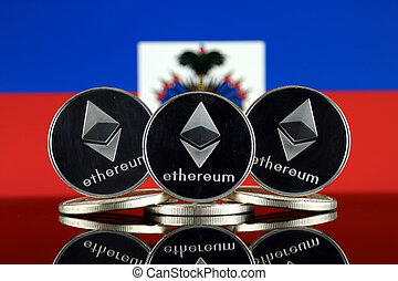 Physical version of Ethereum (ETH) and Haiti Flag. ...