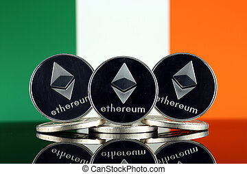 Physical version of Ethereum (ETH) and Ireland Flag. ...