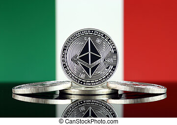 Physical version of Ethereum (ETH) and Italy Flag. ...