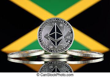 Physical version of Ethereum (ETH) and Jamaica Flag. ...