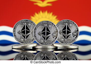 Physical version of Ethereum (ETH) and Kiribati Flag. ...