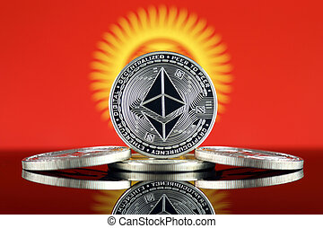 Physical version of Ethereum (ETH) and Kyrgyzstan Flag. ...