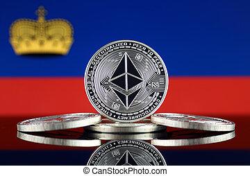 Physical version of Ethereum (ETH) and Lichtenstein Flag. ...