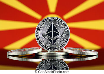 Physical version of Ethereum (ETH) and Macedonia Flag. ...