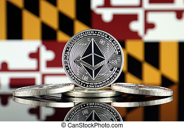 Physical version of Ethereum (ETH) and Maryland State Flag. ...