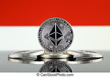 Physical version of Ethereum (ETH) and Monaco Flag. ...