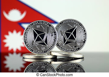 Physical version of Ethereum (ETH) and Nepal Flag. ...