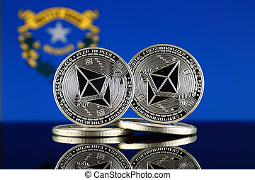 Physical version of Ethereum (ETH) and Nevada State Flag. ...