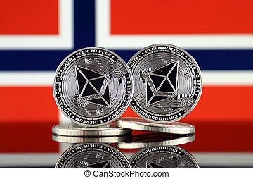 Physical version of Ethereum (ETH) and Norway Flag. ...