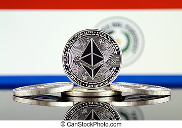 Physical version of Ethereum (ETH) and Paraguay Flag. ...