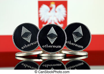 Physical version of Ethereum (ETH) and Poland Flag. ...