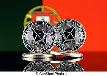 Physical version of Ethereum (ETH) and Portugal Flag. ...