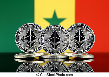 Physical version of Ethereum (ETH) and Senegal Flag. ...